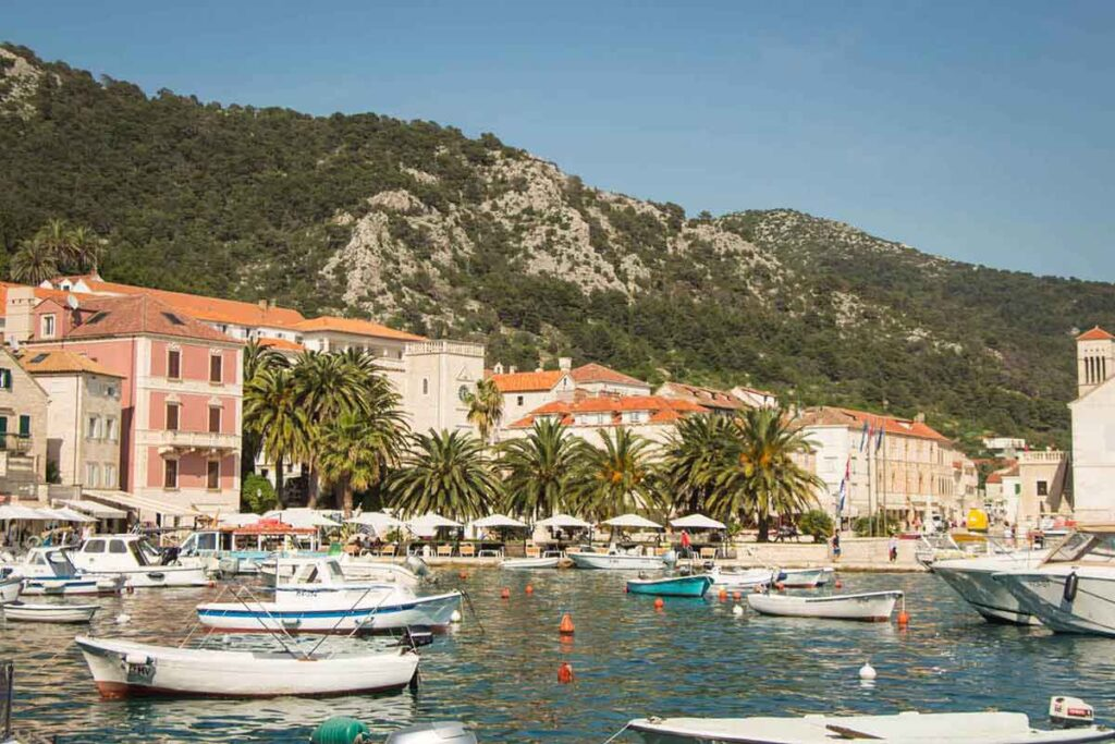 view of marina on hvar island croatia
