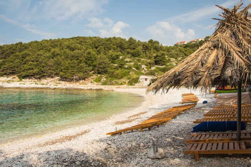 beach chairs on one of the best beaches Hvar Island