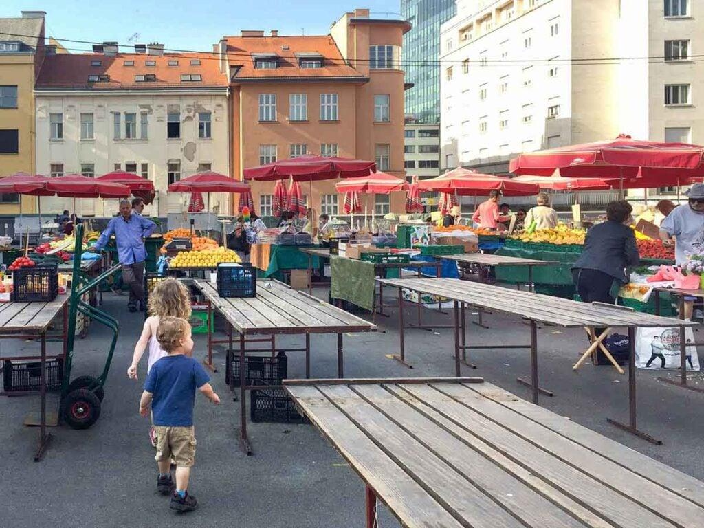 walking through Dolac Market Zagreb Croatia with kids
