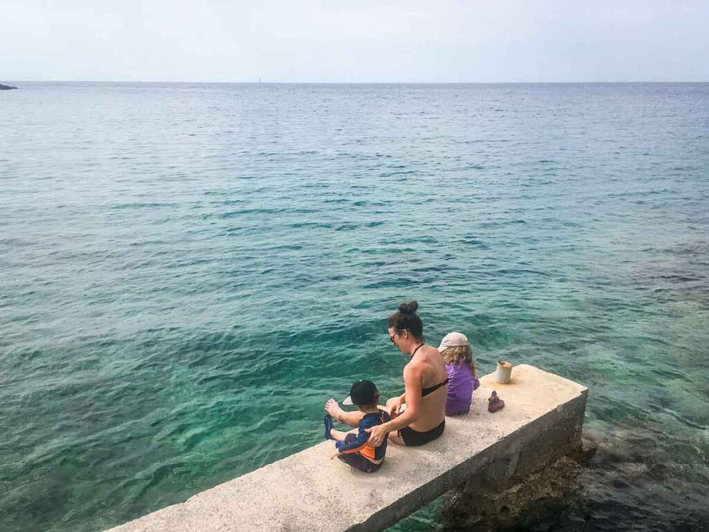 Sitting at the Beach on Hvar Island Croatia with Kids