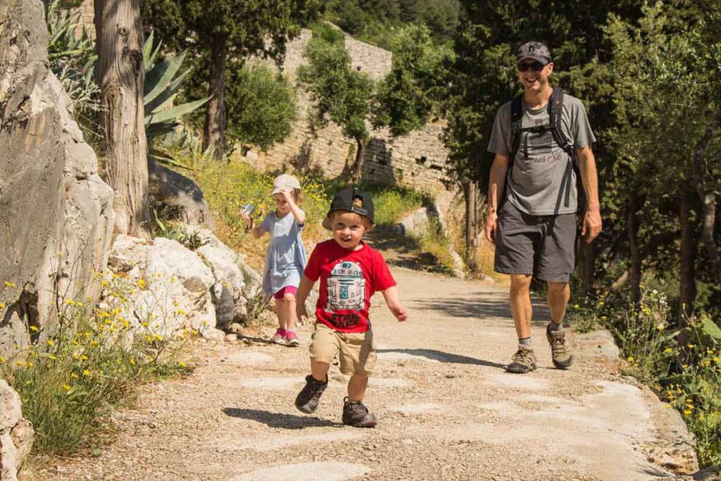 Walking with kids on the path to the Fortress on Hvar Island - things to do in Hvar for families