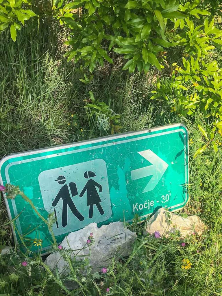 Sign to Kocje on Korcula hiking trail