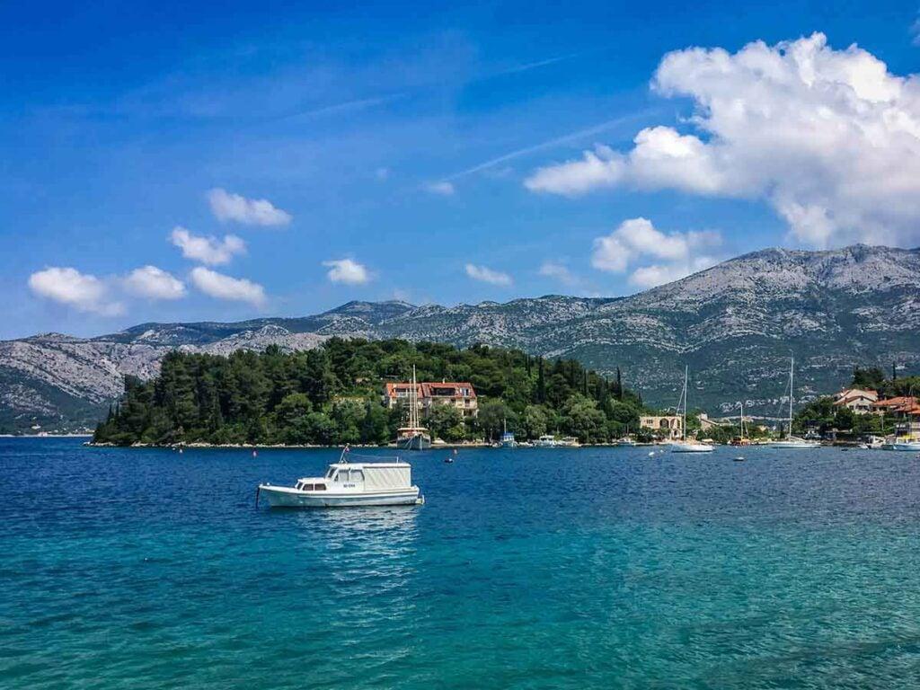 stunning turquoise water of Adriatic Sea along Korcula Island