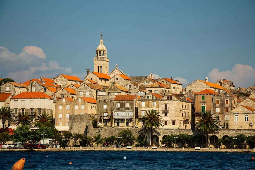 View of Korcula Old Town from Korcula Beaches