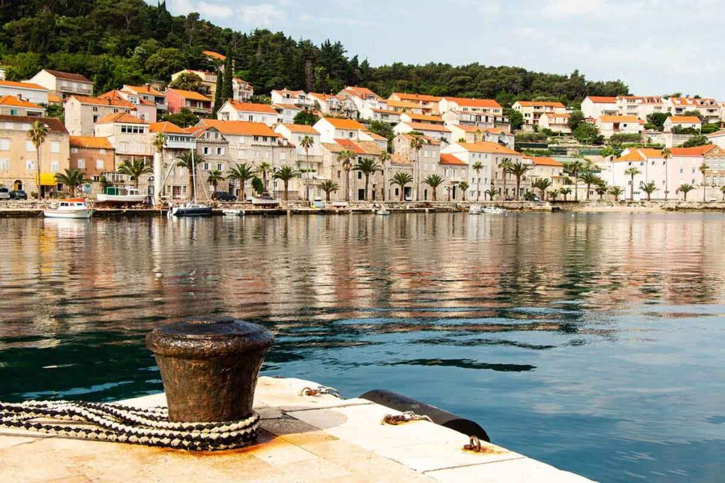 View of Korcula Old Town from ferry dock - how to get to korcula
