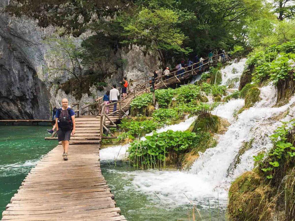 Waterfalls and boardwalk at Plitvice Lakes National Park Croatia