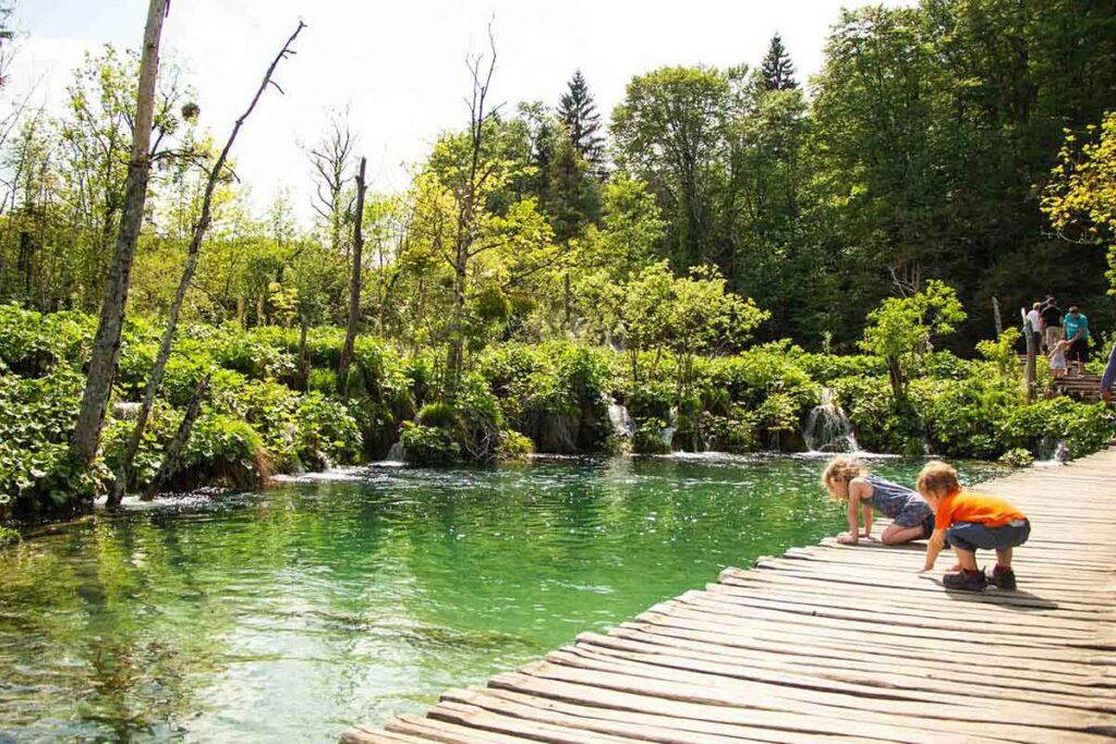 Small kids at Plitvice Lakes National Park