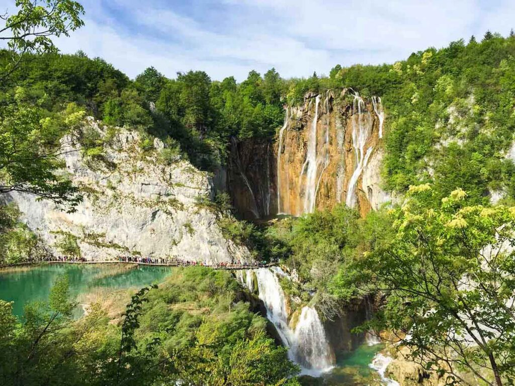 View of Veliki Slap waterfall at Plitvice Lakes Croatia