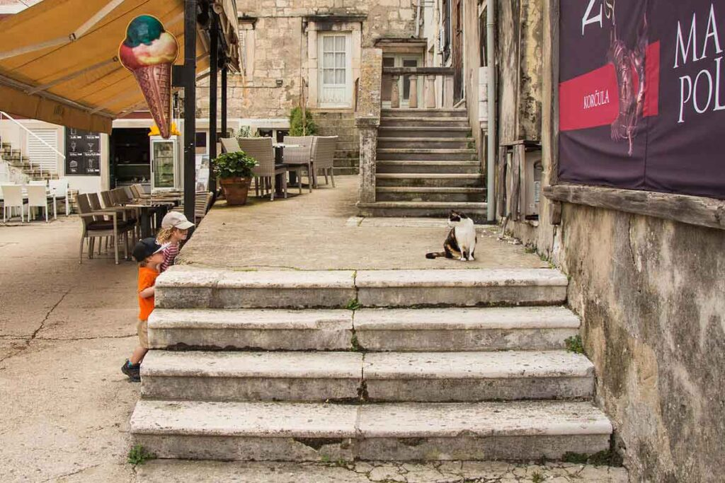 walking around old town Korcula with kids