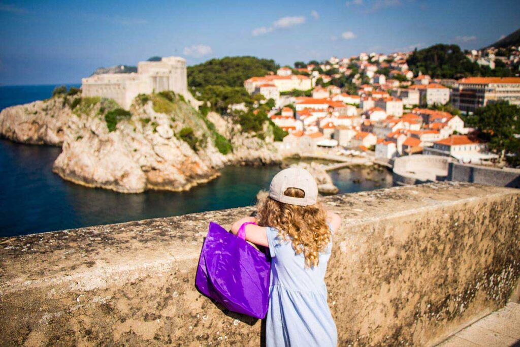 Walking the Dubrovnik city walls with kids