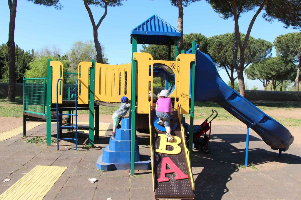 The Aquedect Park is a great thing to do with kids in Rome. It has some interesting Roman history, walking trails through a park and this small playground.