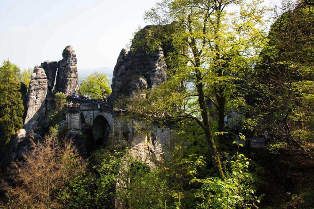 Bastei Bridge in Saxon Switzerland National Park Germany