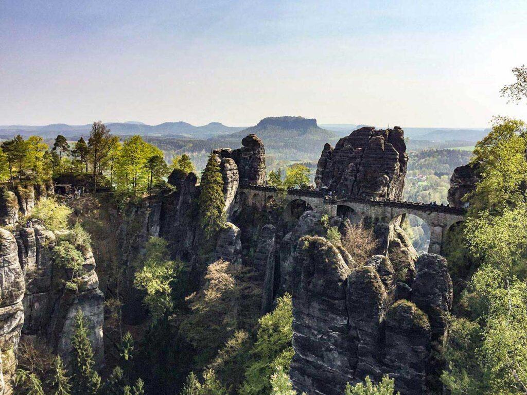 Bastei Bridge in Saxon Switzerland in Germany
