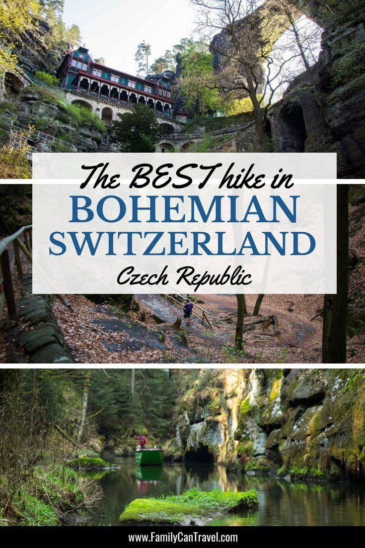 Our favourite hike we did in the Czech Republic! From incredible views to hiking through a gorge and a boat ride, this hike in Bohemian Switzerland has it all! #czechrepublic #bohemianswitzerland #travelwithkids #hikingwithkids #toddlertravel #traveltips