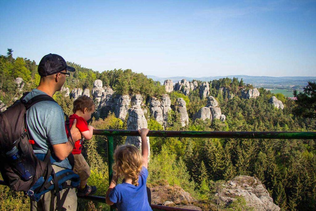 View of the Band rock formations in Bohemian Paradise Czech Republic