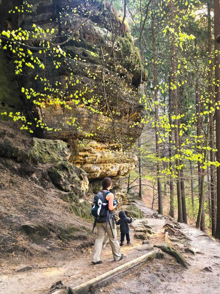Hiking to Pravcicka Brana Bohemian Switzerland with at toddler