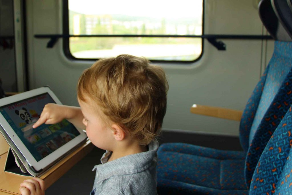 Entertaining kids on a train--Epic-Digital-Library-for-Travel-Books on a Train