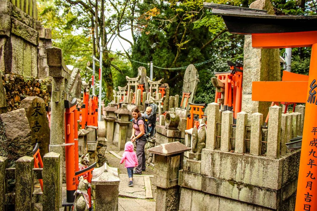 A family enjoys the culture along the Fushimi Inari hike