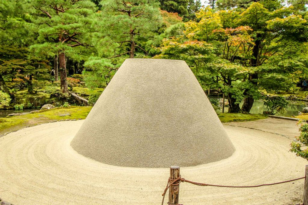 A sand sculpture representing Mt. Fuji built by monks at Ginkakuji Temple in Kyoto, Japan