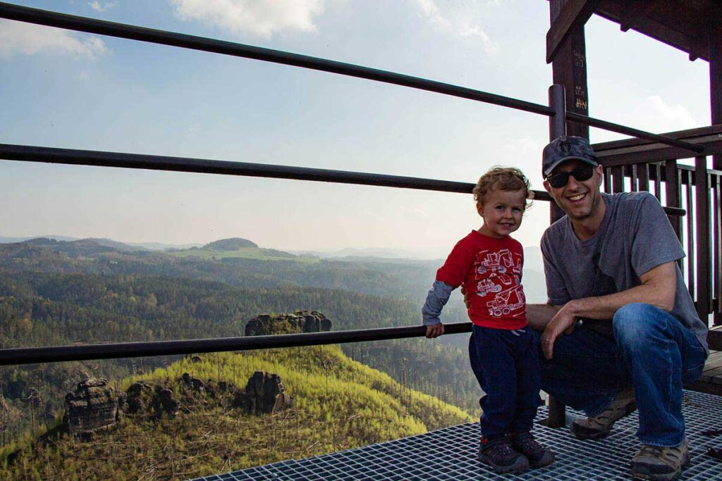 View from Mariina Vyhlidka lookout hike - Bohemian Switzerland with a toddler
