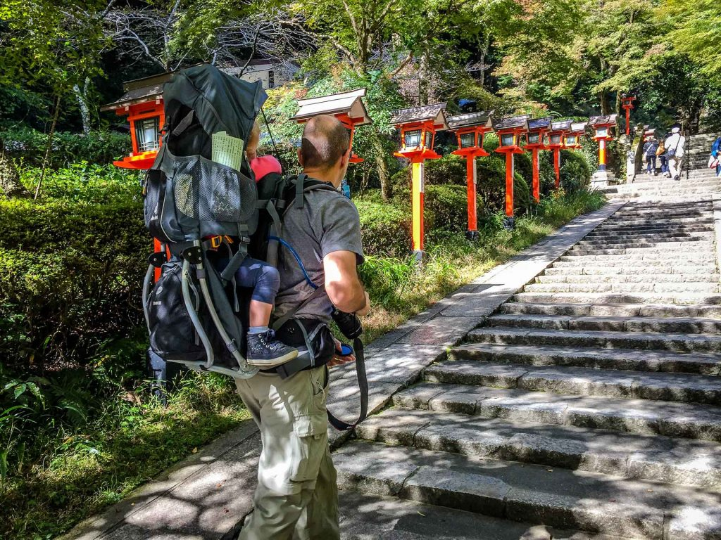 Using a backpack carrier to carry a toddler on the hike from Kurama to Kibune