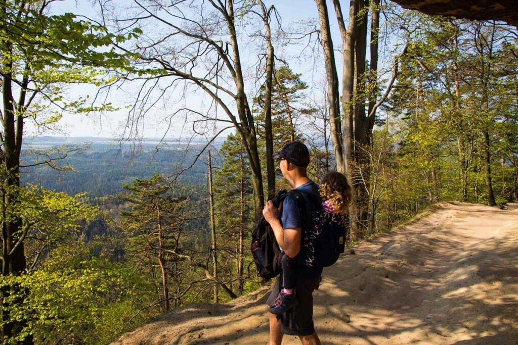 using toddler carriers for bohemian switzerland hike with kids
