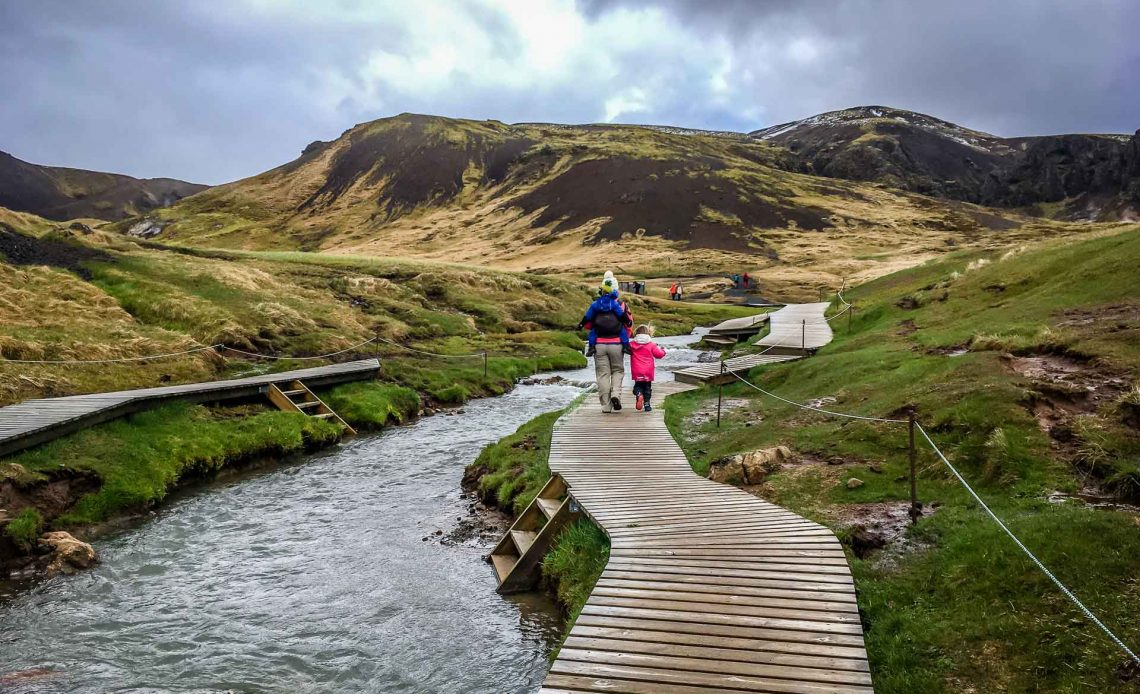Hveragerði Hot Springs River Trail Golden Circle Iceland with kids