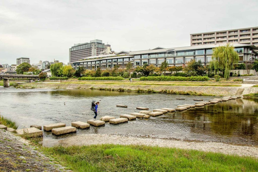 A fun family activity in Kyoto is to cross the Kamo River by stepping stones (found just north of the Nijo bridge)