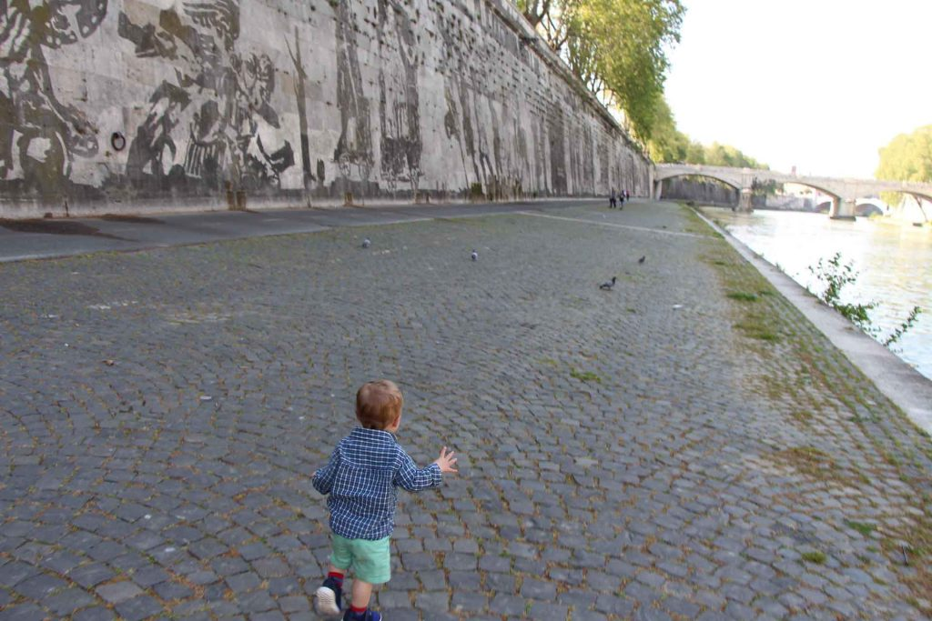 An easy walk along the Tiber River in Rome is a fun thing to do with kids when they get tired of visiting the Colosseum, the Vatican, etc.