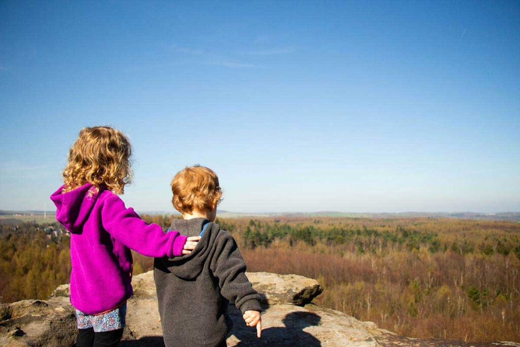 View from Tisa Walls in Czech Republic with kids