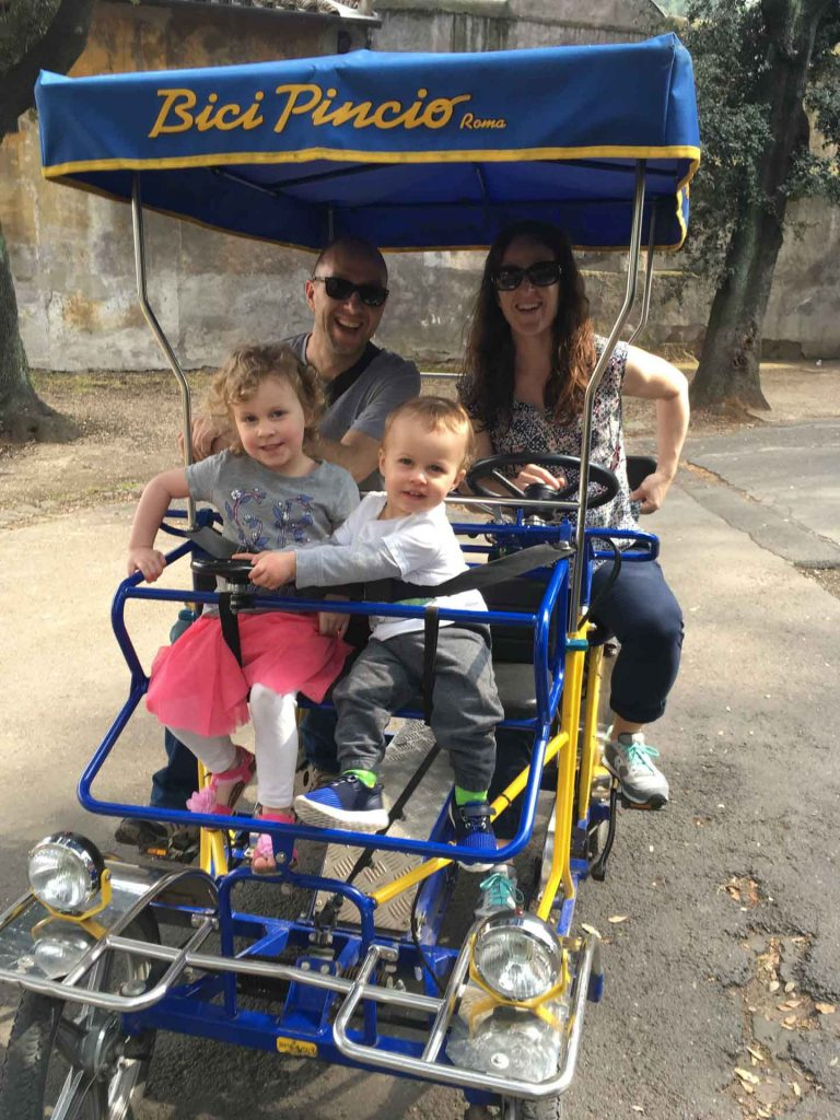 Villa Borghese kids activities include renting Surrey Bikes (a fun 4-seater bike which has a steering wheel for the kids)