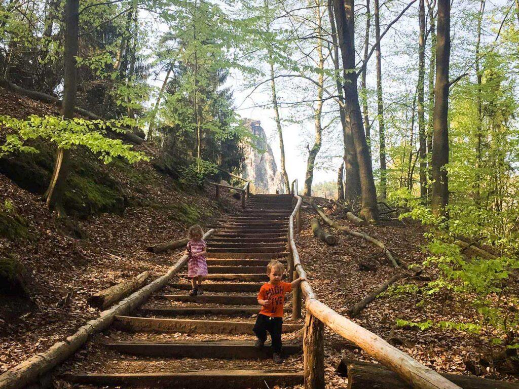 hike in Saxon switzerland national park to bastei bridge