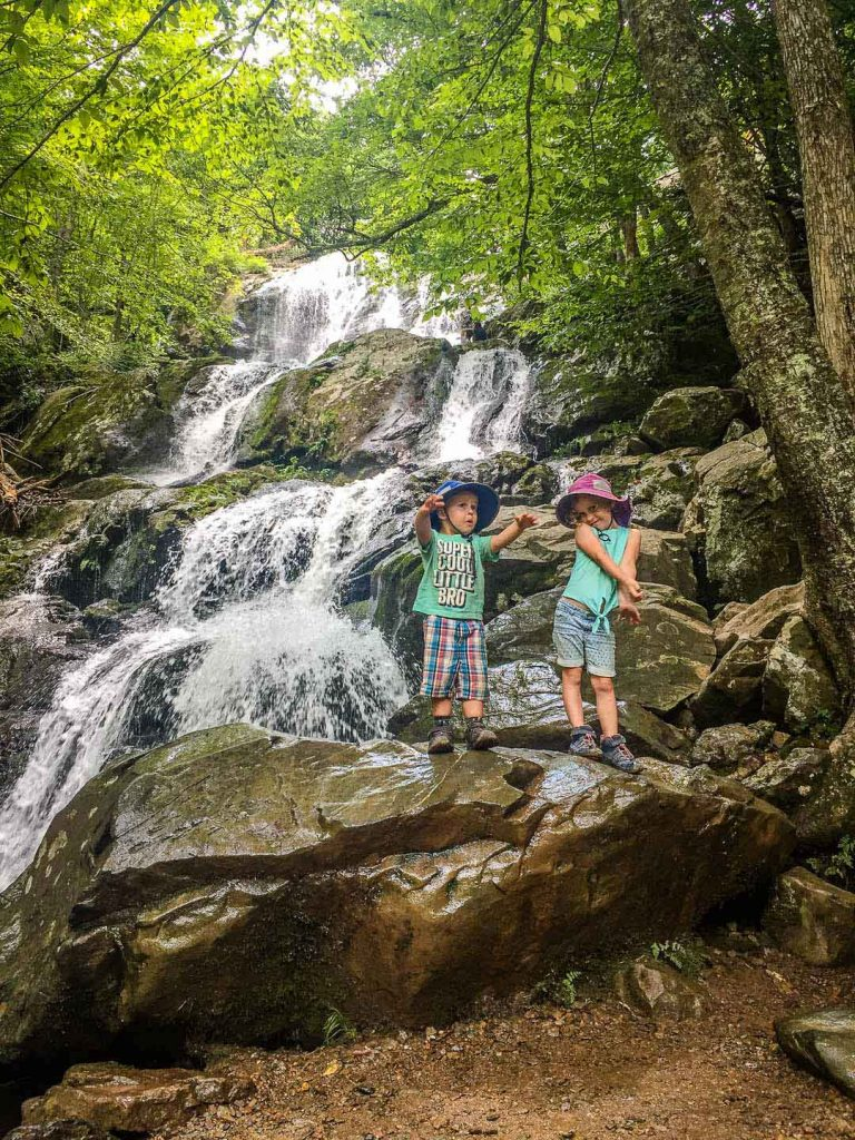 best family road trip destinations - Dark Hollow Falls trail with kids Shenandoah National Park
