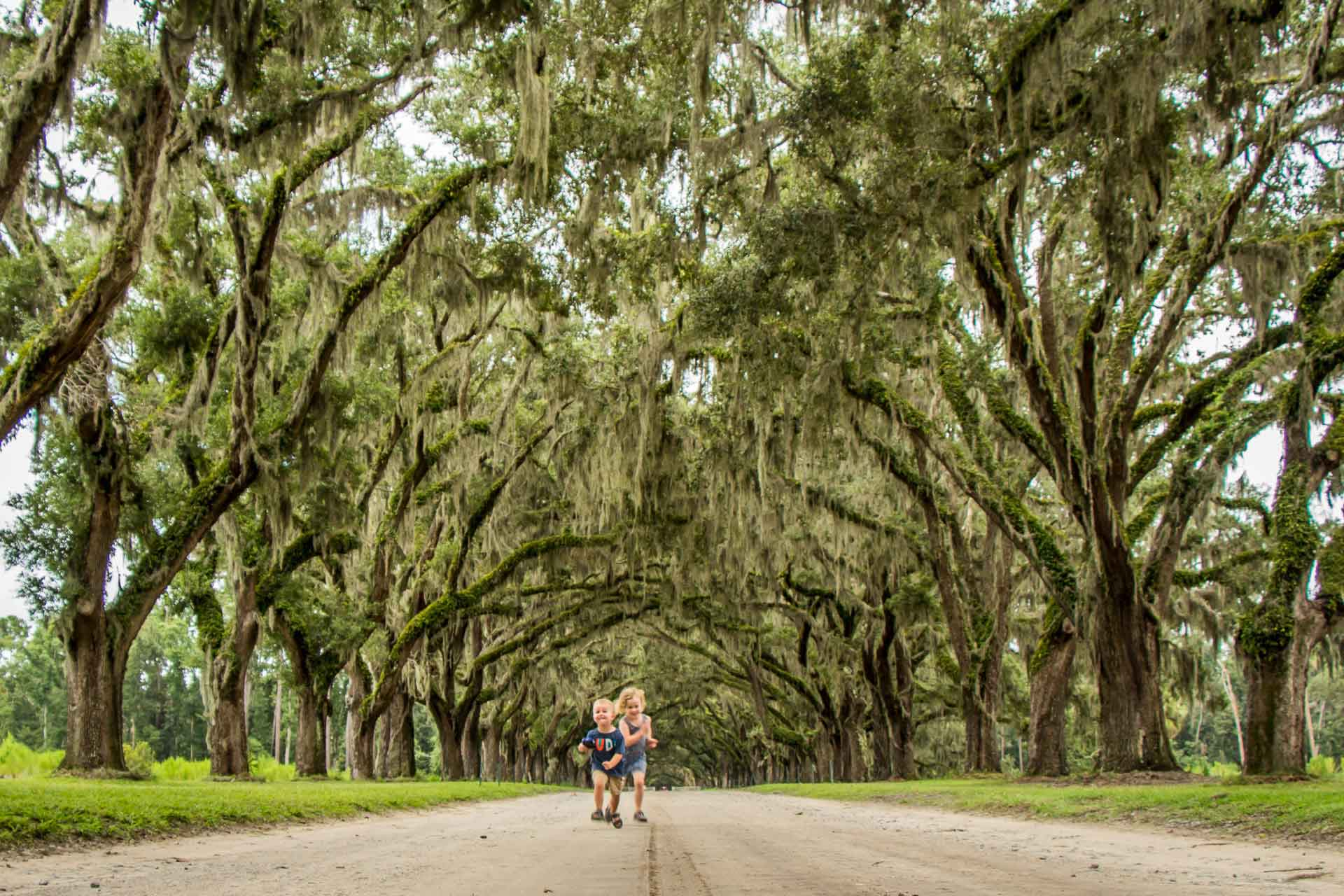 Family Can Travel - 2 Days in Savannah with Kids - Wormsloe Historic Site - Kids having fun under Oaks and Spanish Moss