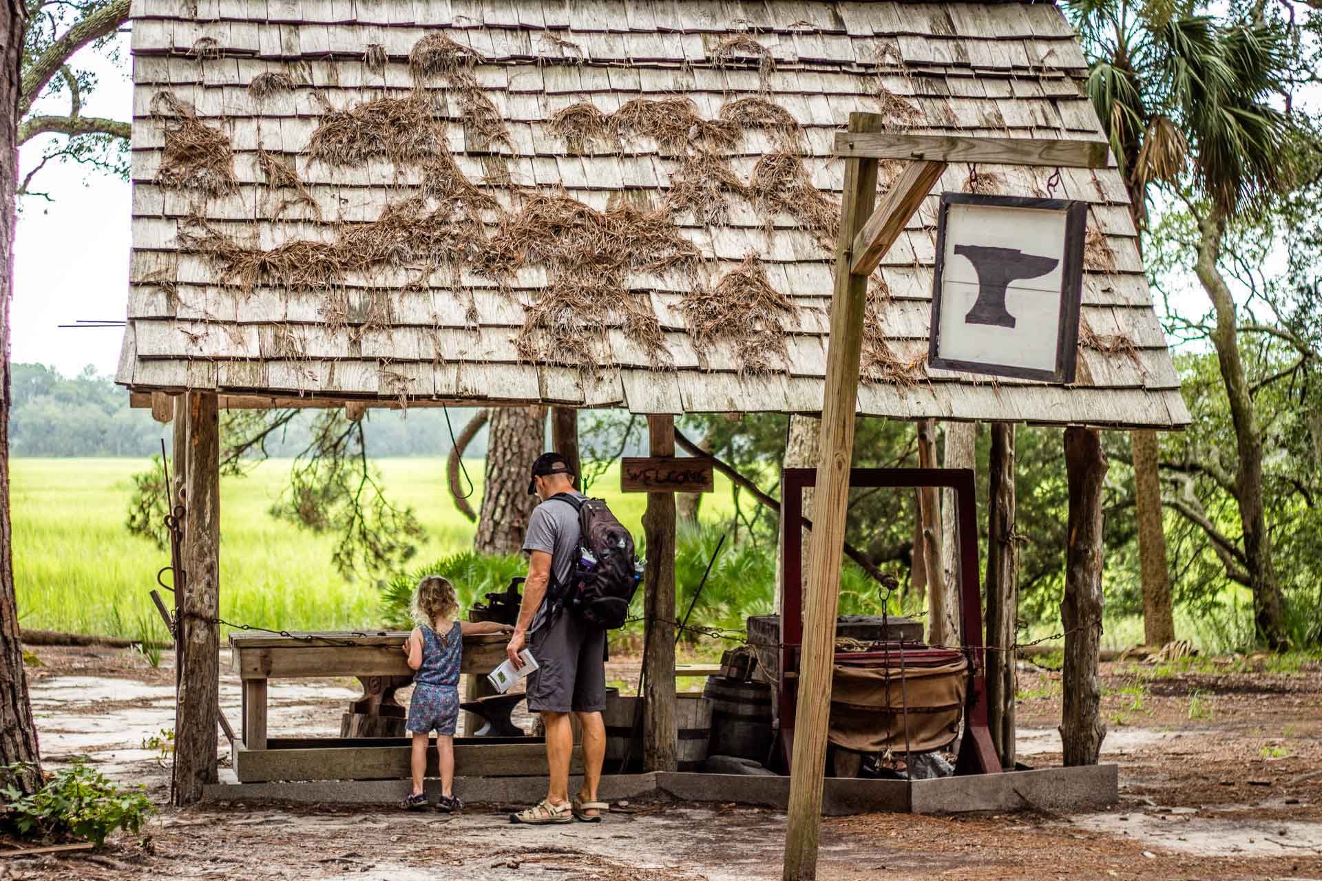 Family Can Travel - 2 Days in Savannah with Kids - Wormsloe Historic Site - Replica Blacksmiths Shop