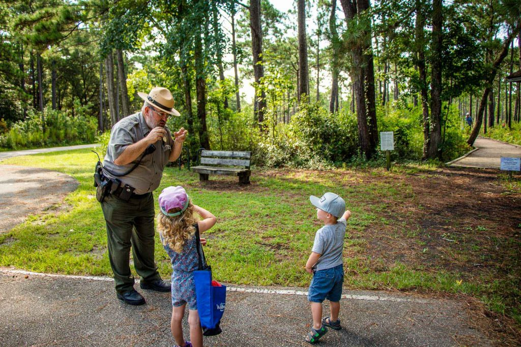 things to do in Wilmington, NC with kids - looking for Venus fly traps with Ranger Chris at Carolina Beach State Park