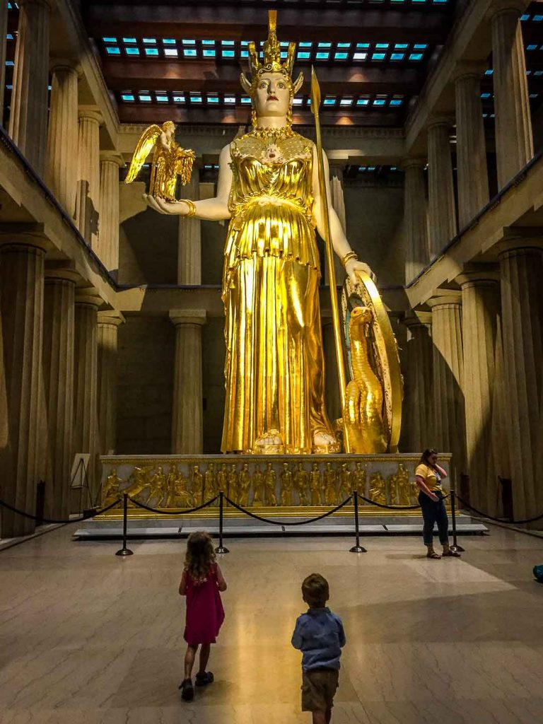 Family Can Travel - A Day in Nashville with Kids - Full Size Replica Parthenon - Athena Statue