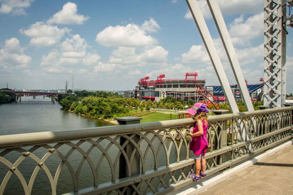 Family Can Travel - A Day in Nashville with Kids - John Seigenthaler Pedestrian Bridge - Nissan Stadium