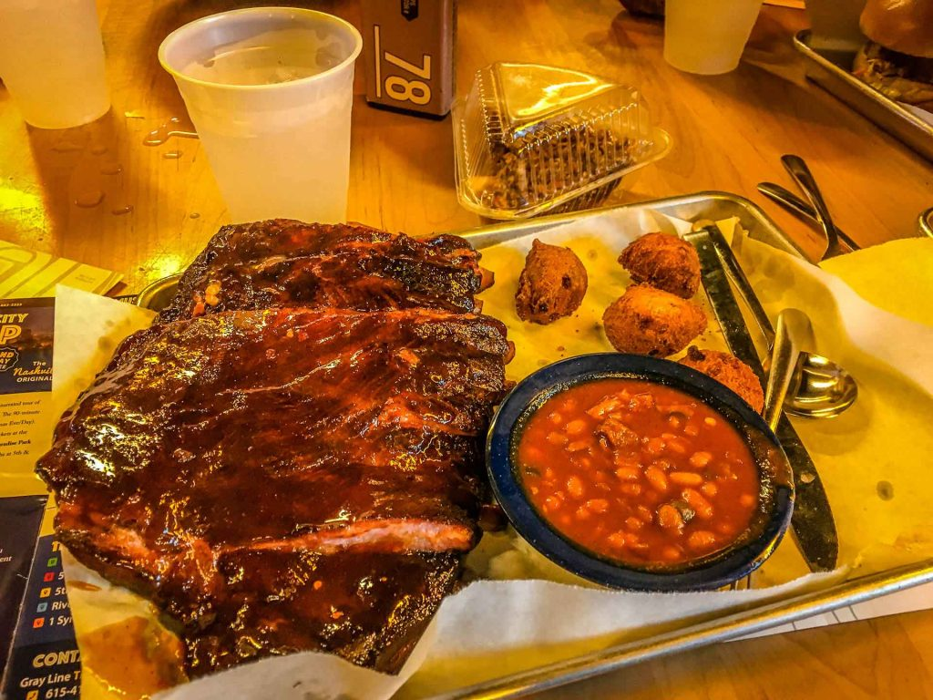 Family Can Travel - A Day in Nashville with Kids - Martins BBQ Joint - Ribs