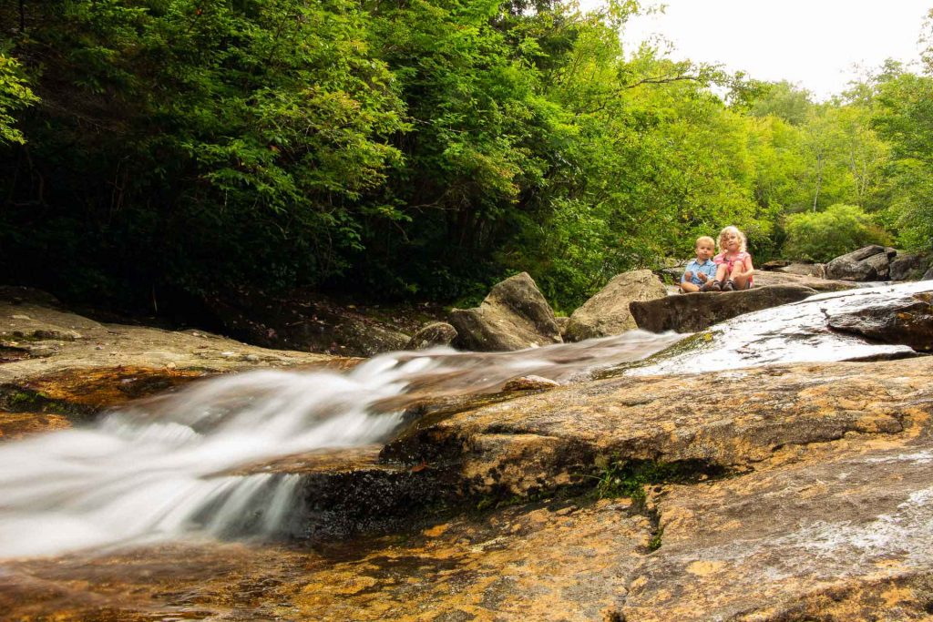 kid-friendly hiking to blue ridge parkway waterfalls - Graveyard Fields - enjoying the upper waterfall