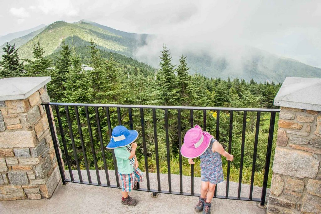 Hiking Blue Ridge Parkway with kids  - Mount Mitchell viewpoint- clouds obscuring the views from the summit
