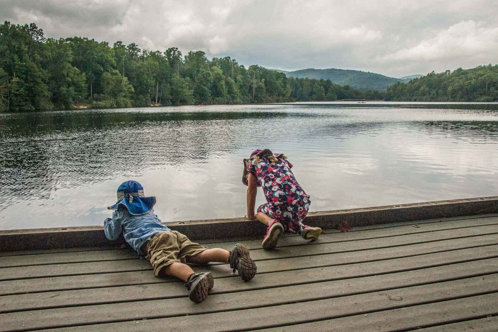 Family Can Travel - Family Friendly Hikes Along the Blue Ridge Parkway - Price Lake - looking for fish