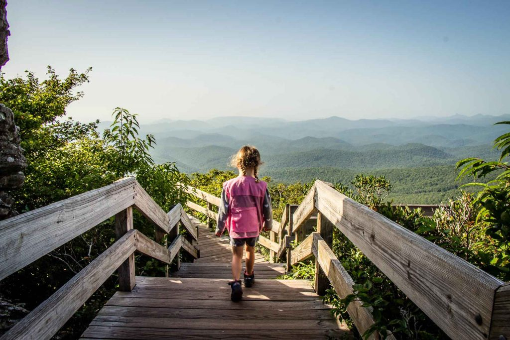 Blue Ridge Parkway road trip with kids - Rough Ridge hike has the best views of the Blue Ridge Mountains