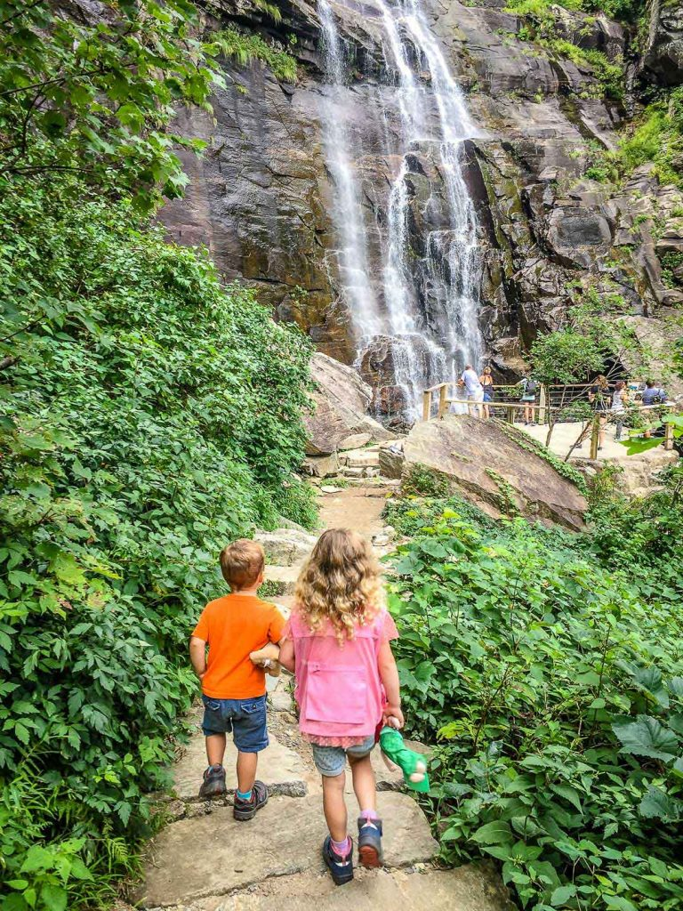 best road trips in America - Asheville, NC with Kids - Chimney Rock State Park - Hickory Nut Falls Trail