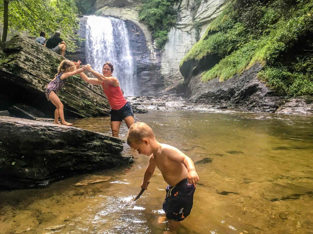 southern usa road trip with kids  - Asheville, NC - Pisgah National Forest - Looking Glass Falls
