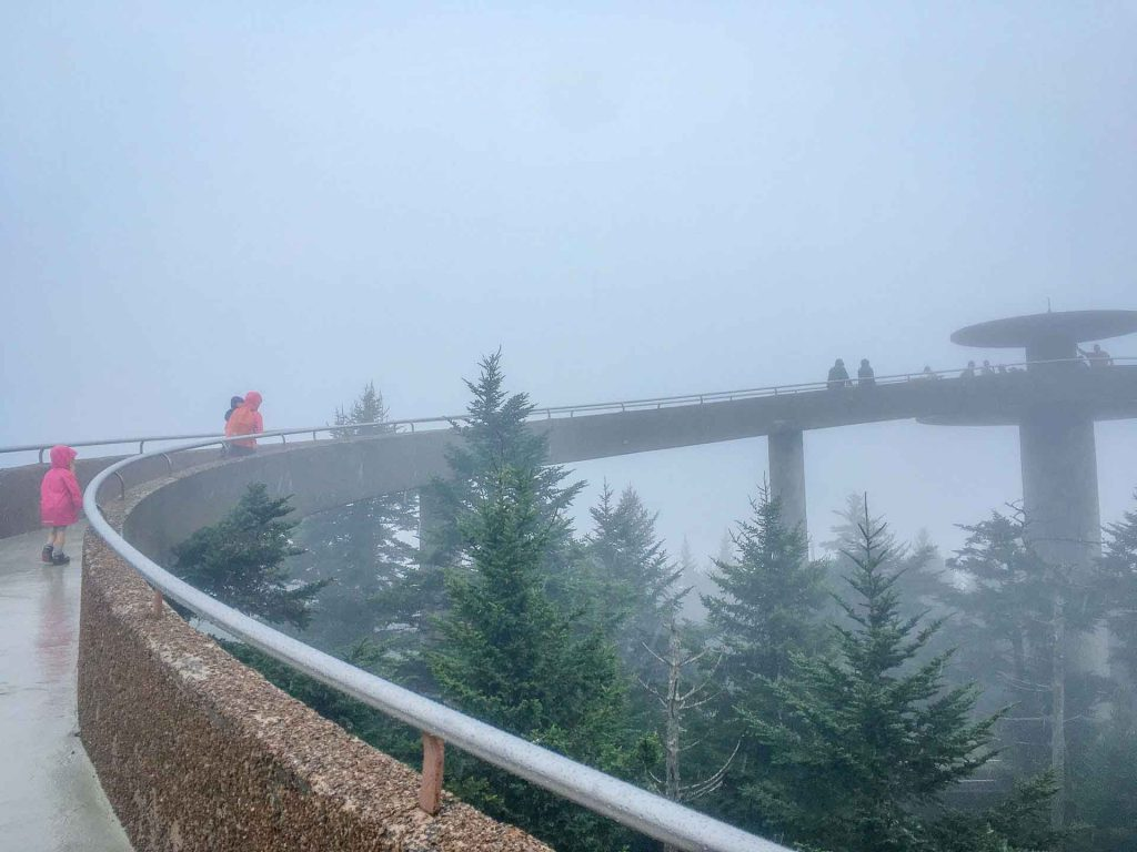 best southern usa road trip destinations - Great Smoky Mountains -  Clingmans Dome in the rain