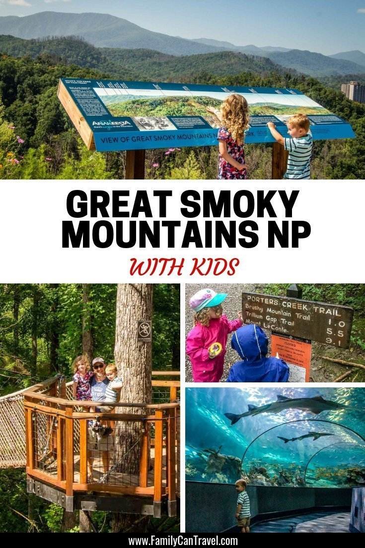 What to do with kids in Great Smoky Mountain National Park? Here's how we spent our time on the trails and in Gatlinburg, TN #gatlinburg #greatsmokymountains #tennessee | Hiking with Kids | Great Smoky Moutains | Ripley's Aquarium | Clingmans dome | Anakeesta | Travel with Kids