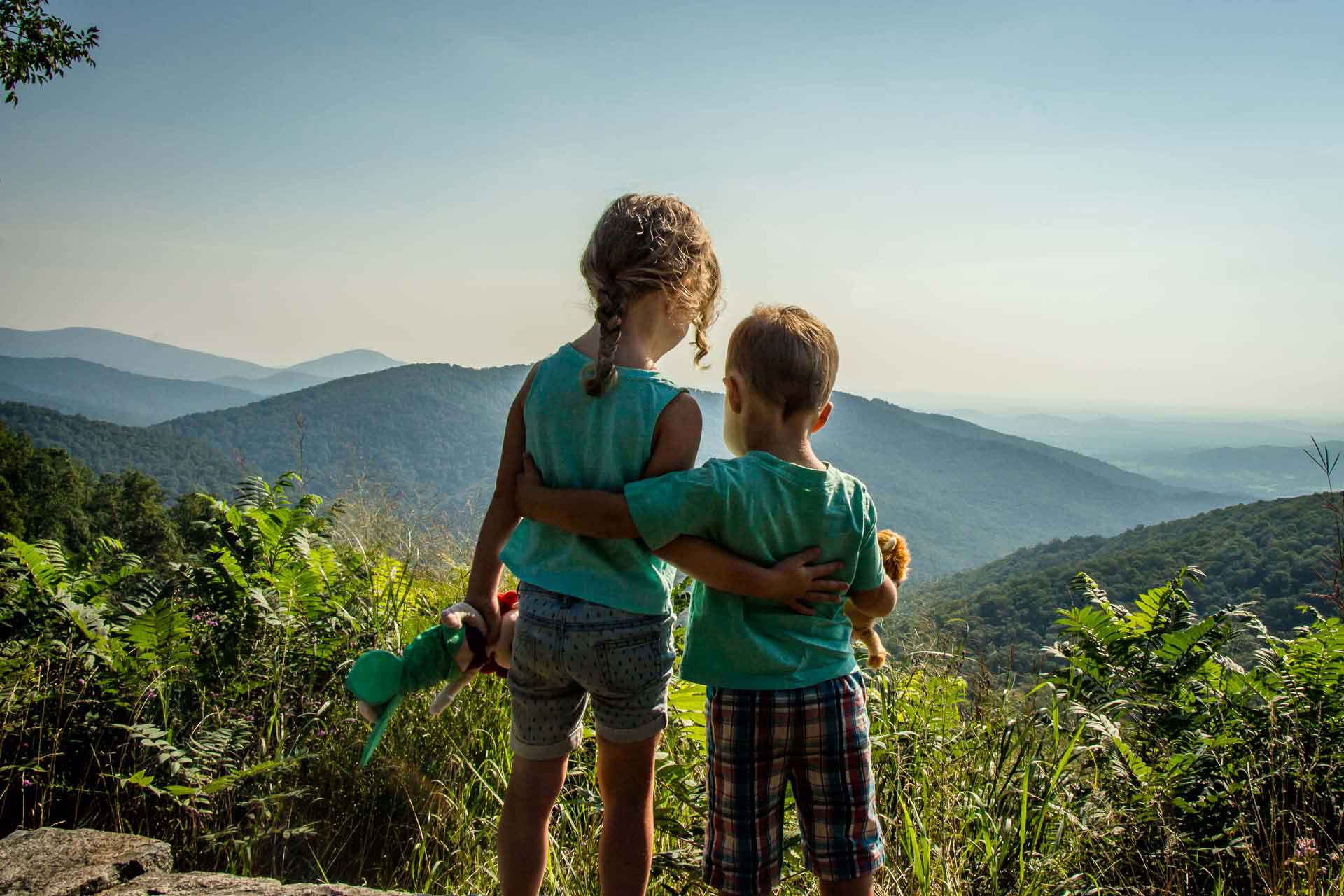Kids hiking on vacation in Shenandoah National Park Virginia