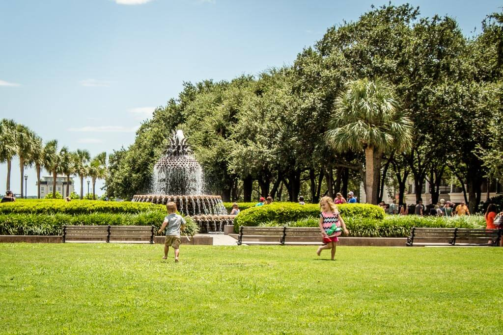 things to do in Charleston South Carolina with Kids - Running in the grass at Waterfront Park