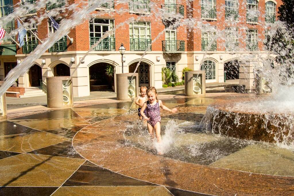 best southern road trips with kids - things to do in charleston sc with kids - play in fountains at waterfront park